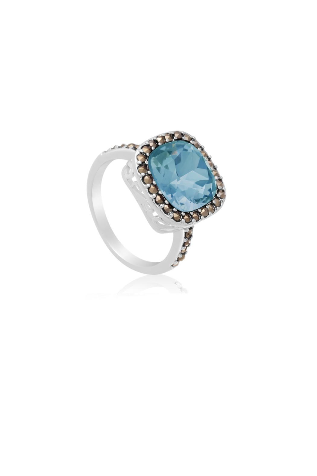 Passiana Aquamarine Halo Ring - Side Cropped Image