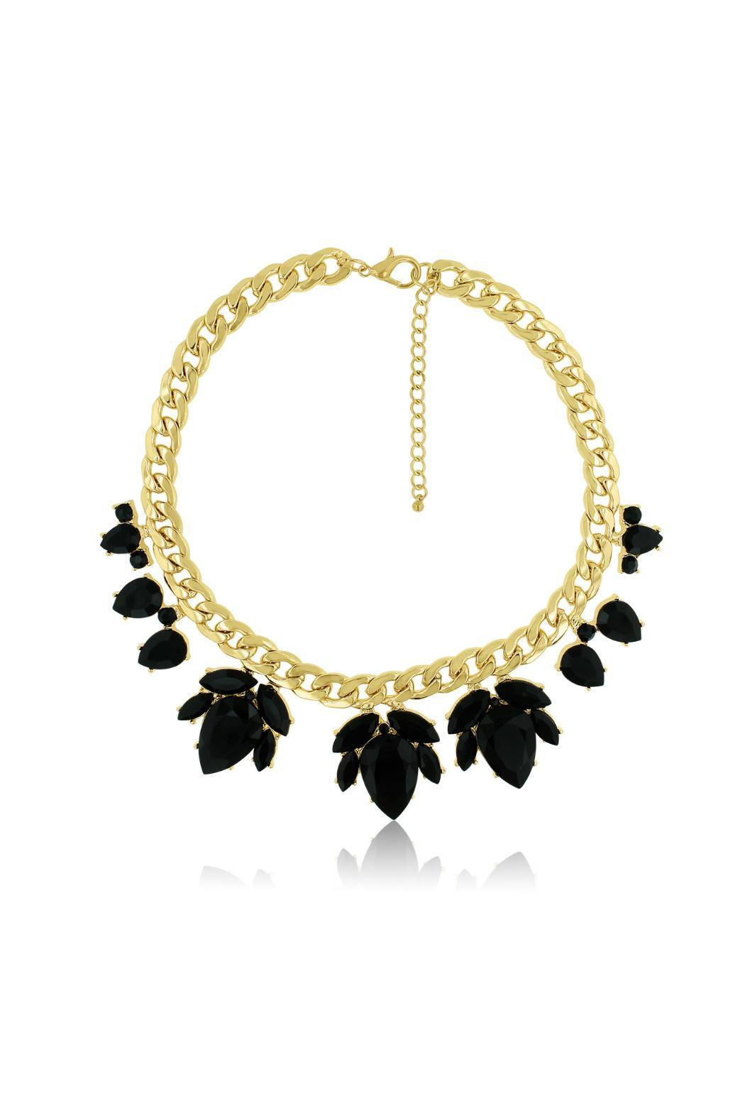 Passiana Black Floral Necklace - Side Cropped Image