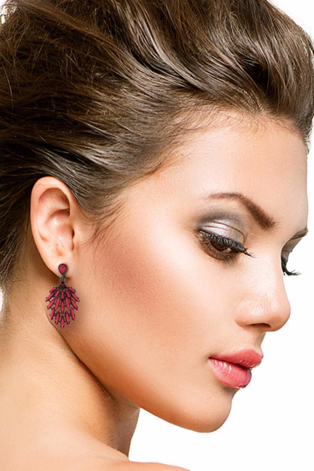 Passiana Bordeaux Crystal Earrings - Front Full Image