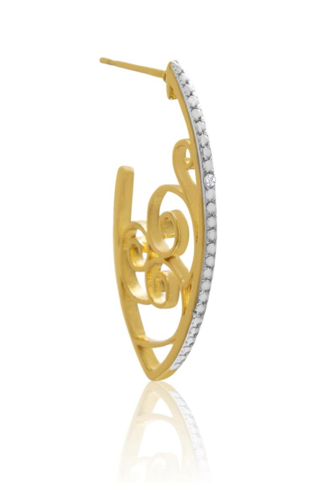 Passiana Delicate Diamond Hoops - Front Full Image
