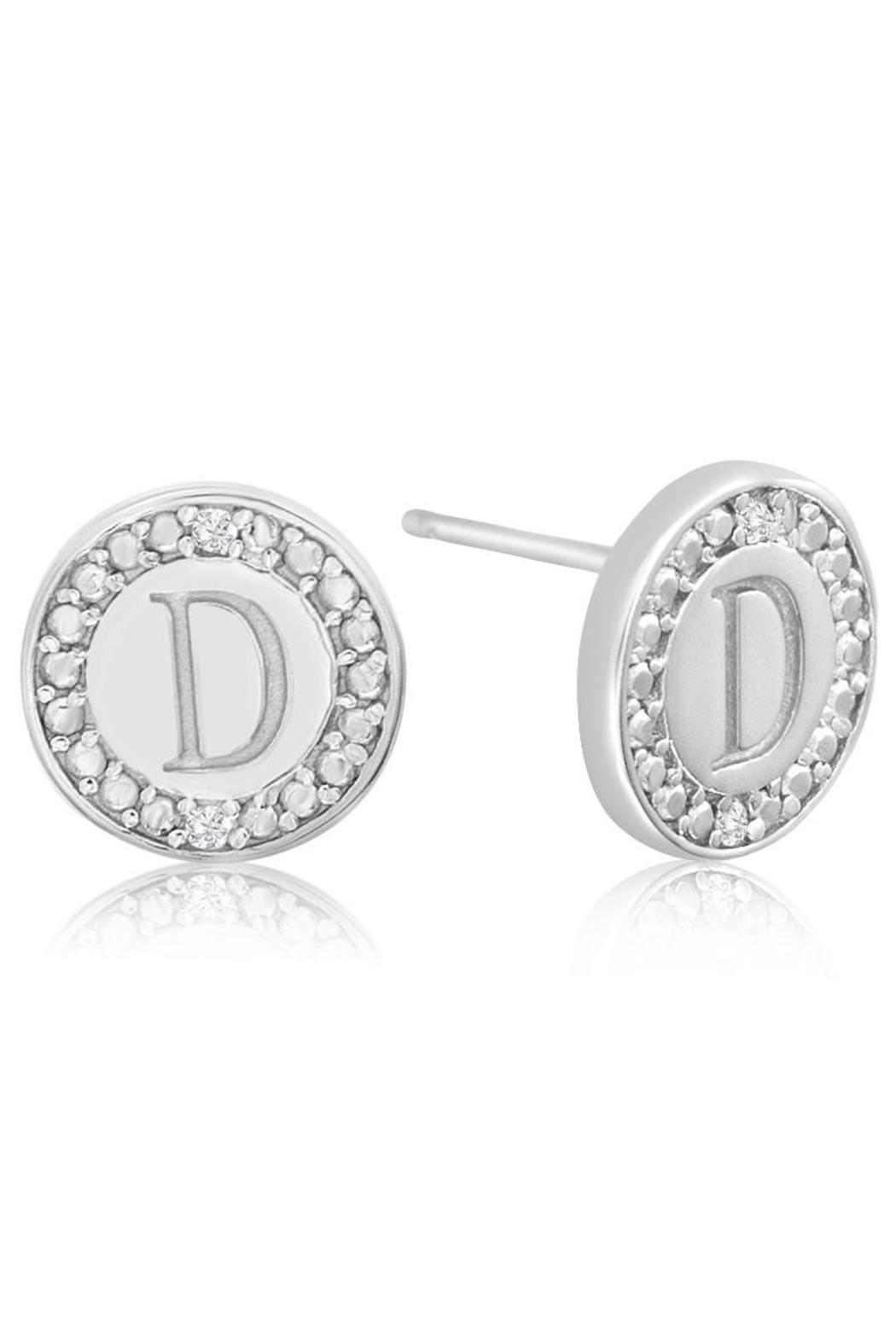 Passiana Diamond Initial Earrings - Back Cropped Image