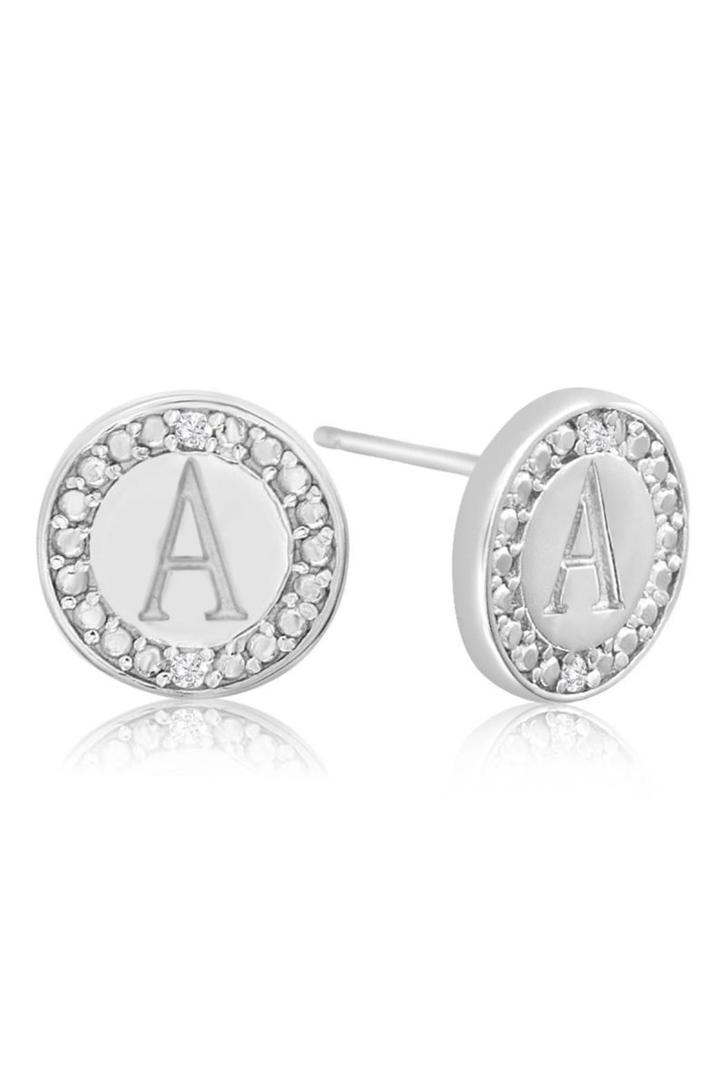 Passiana Diamond Initial Earrings - Front Cropped Image