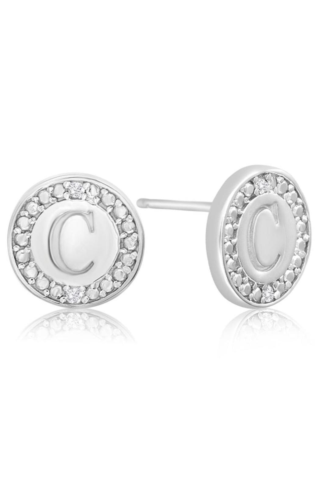 Passiana Diamond Initial Earrings  Side Cropped Image