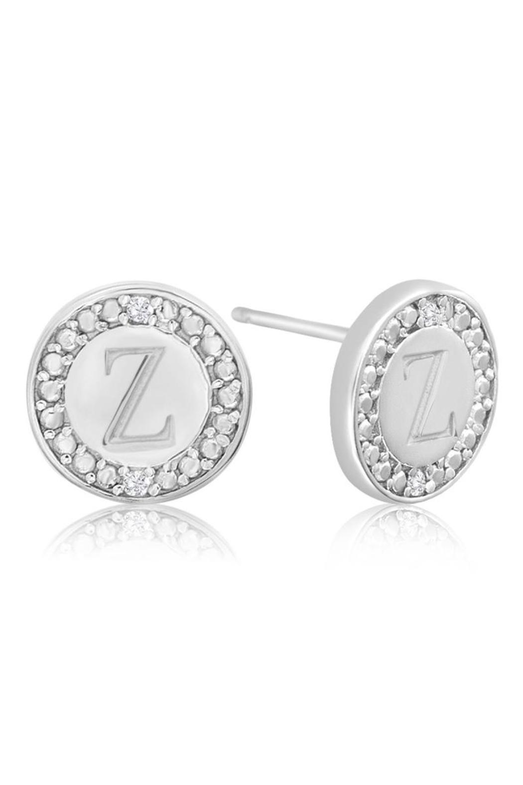 Passiana Diamond Initial Earrings  Back Cropped Image X