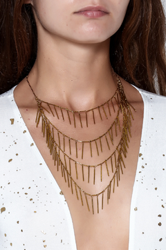 Passiana Gold Fringe Necklace - Alternate List Image