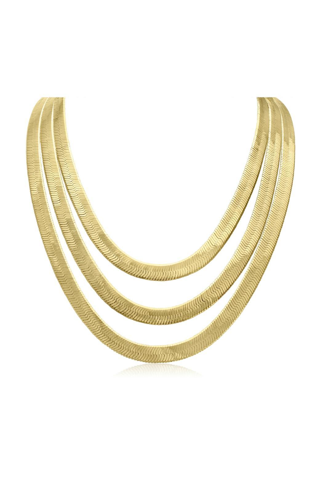 Passiana Gold Herringbone Necklace - Main Image