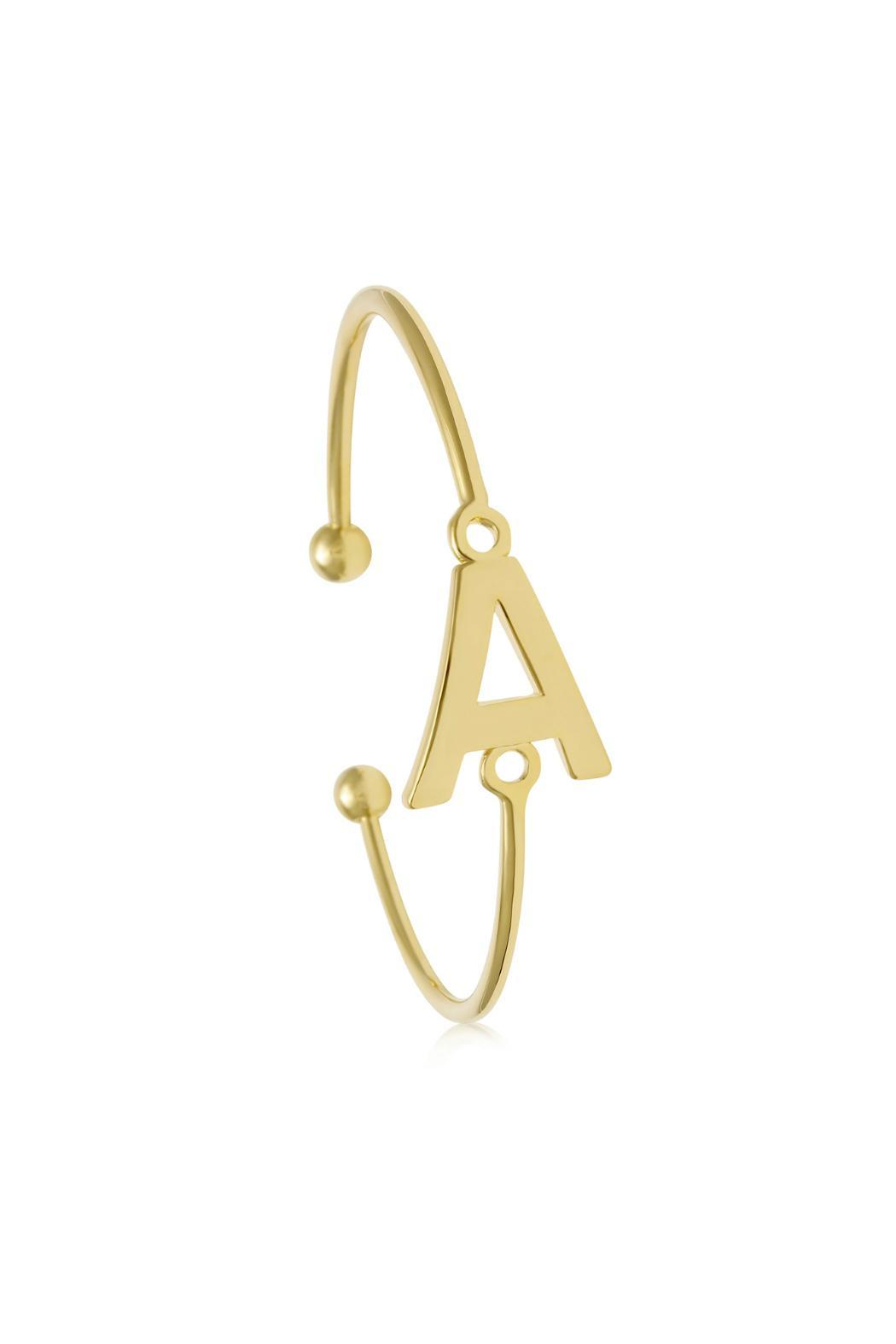 Passiana Gold Initial Bangle - Front Full Image