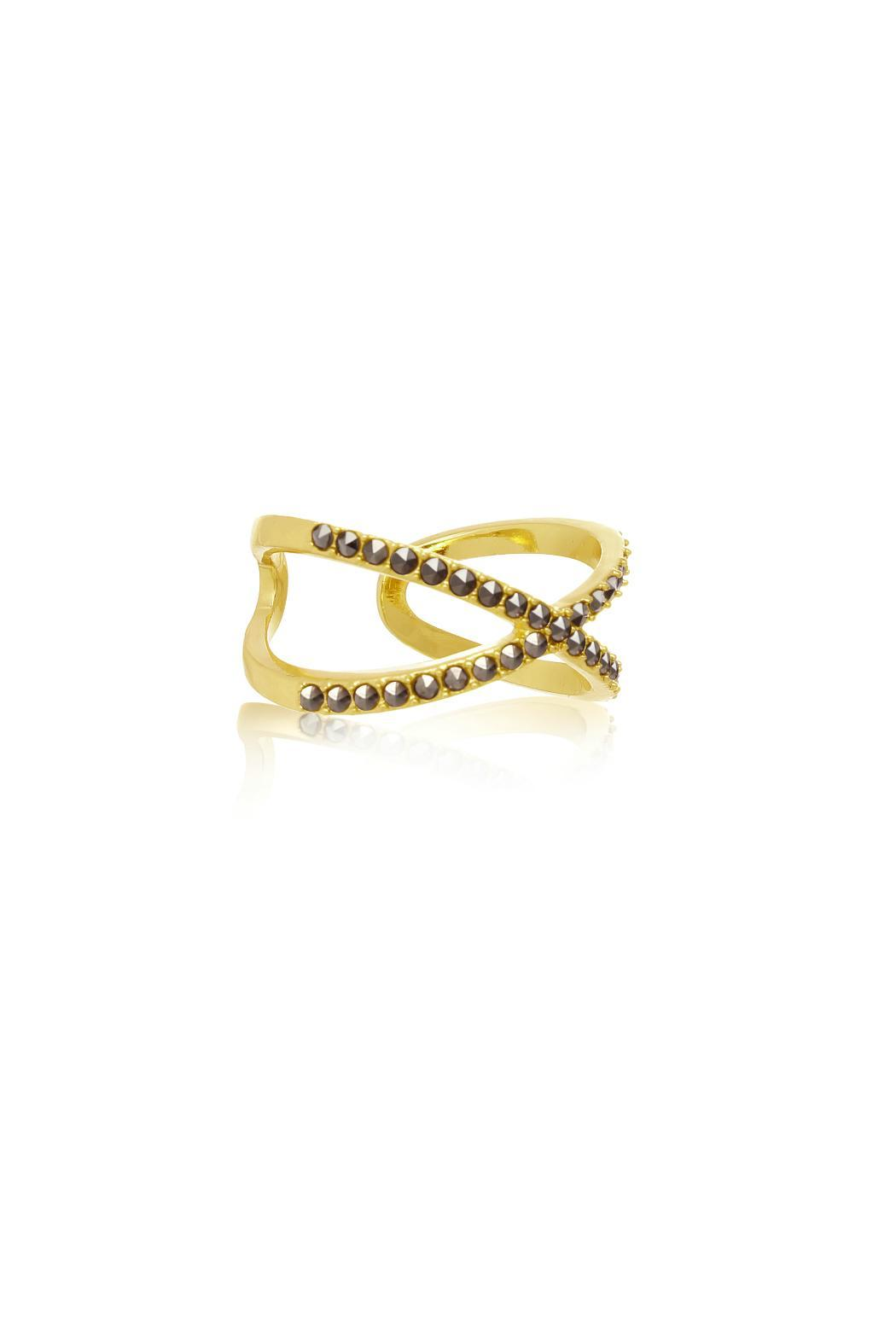 Passiana Gold Marcasite Ring - Front Full Image