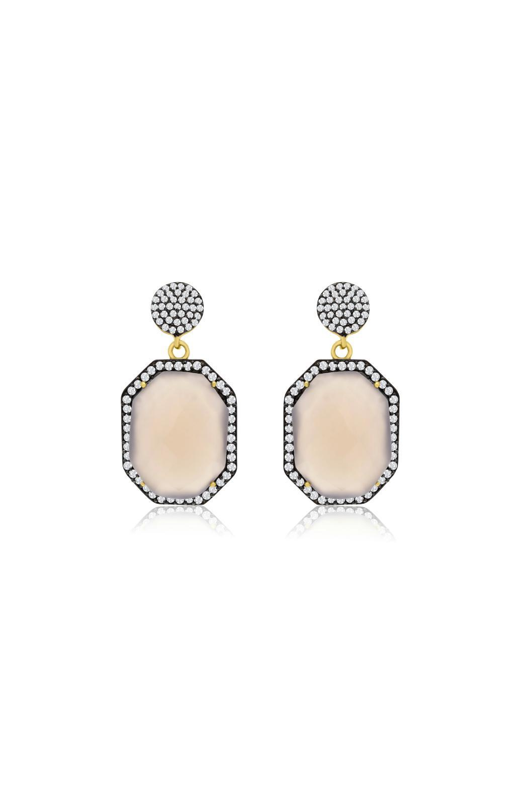 Passiana Gray Moonstone Earrings - Front Full Image
