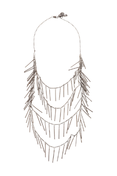 Passiana Gunmetal Fringe Necklace - Product List Image