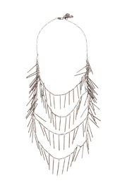 Passiana Gunmetal Fringe Necklace - Front cropped