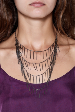 Passiana Gunmetal Fringe Necklace - Alternate List Image
