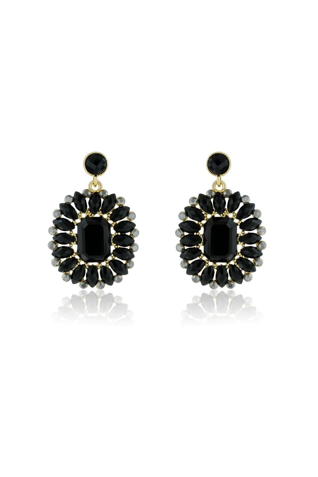 6th Borough Boutique Midnight Crystal Earrings - Front Full Image