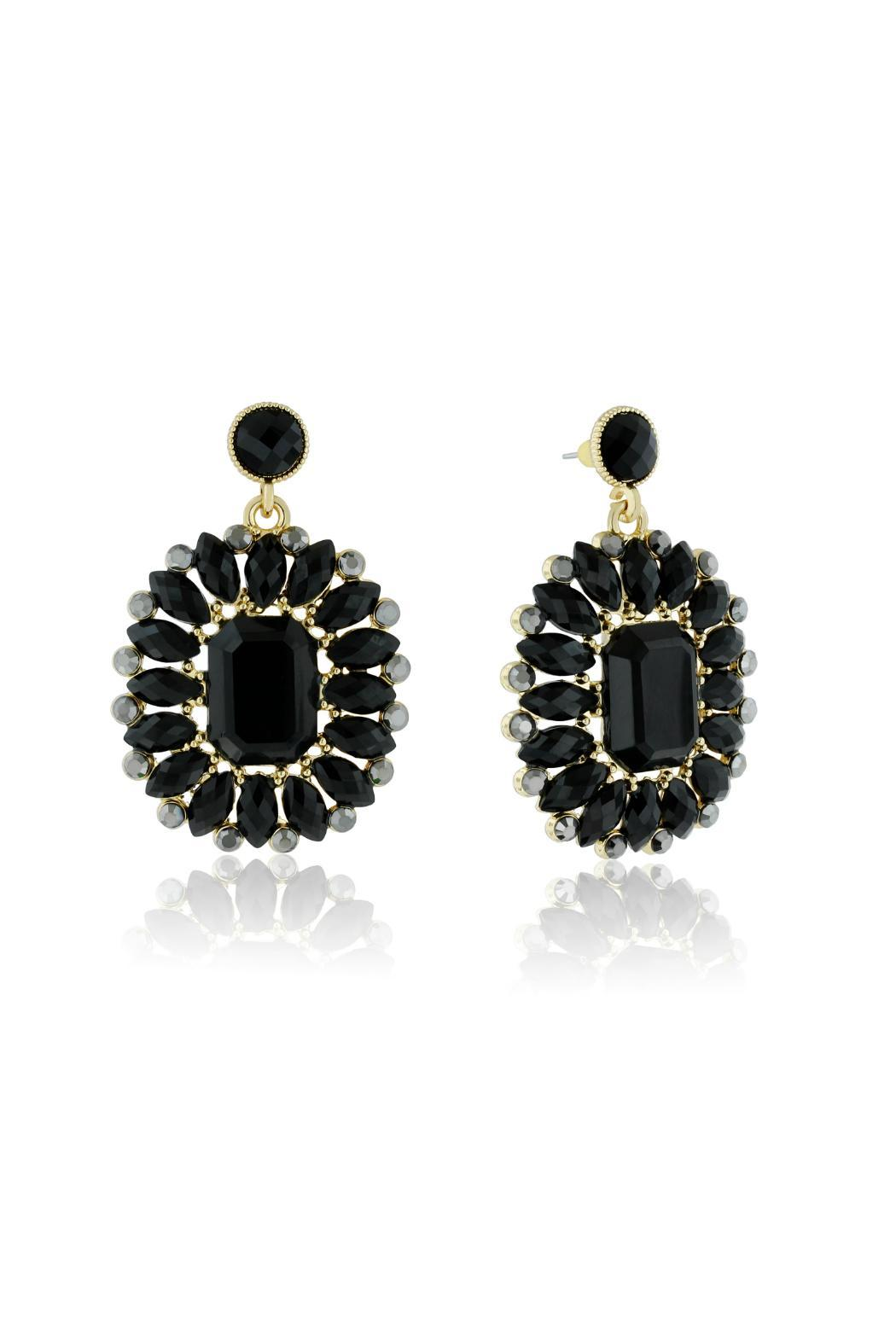 6th Borough Boutique Midnight Crystal Earrings - Front Cropped Image