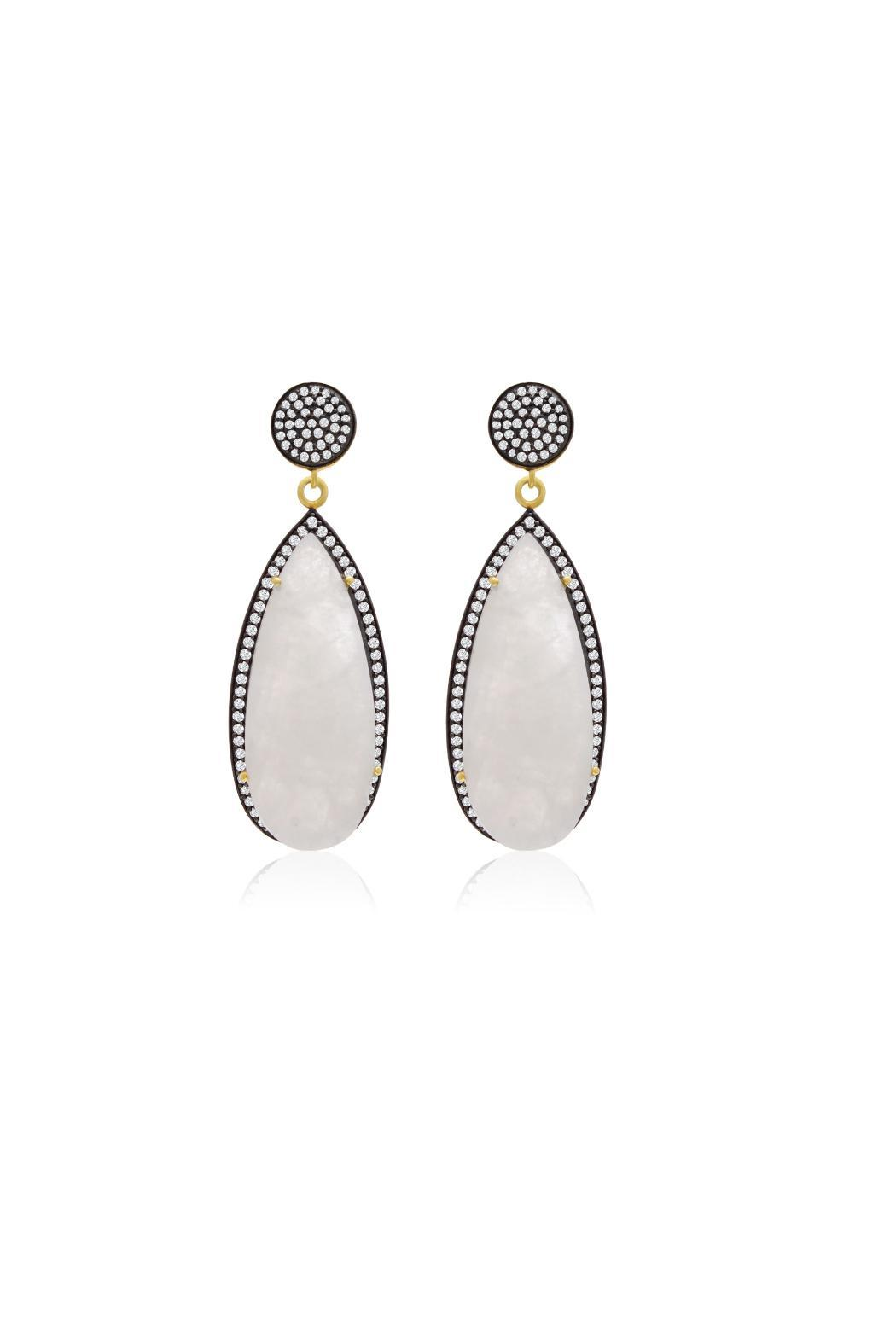 Passiana Moonstone Teardrop Earrings - Front Cropped Image