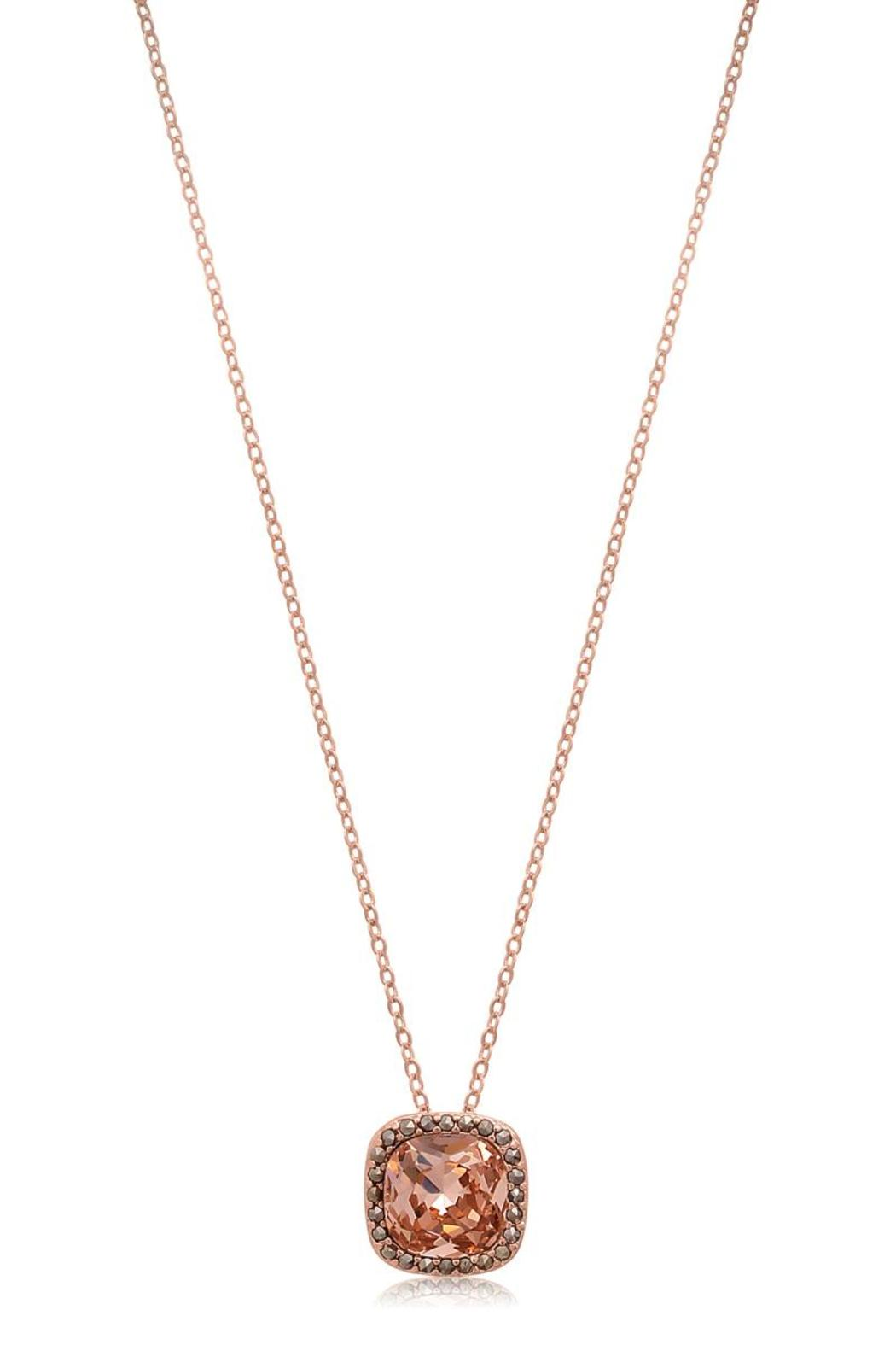 Passiana Morganite Halo Necklace - Side Cropped Image