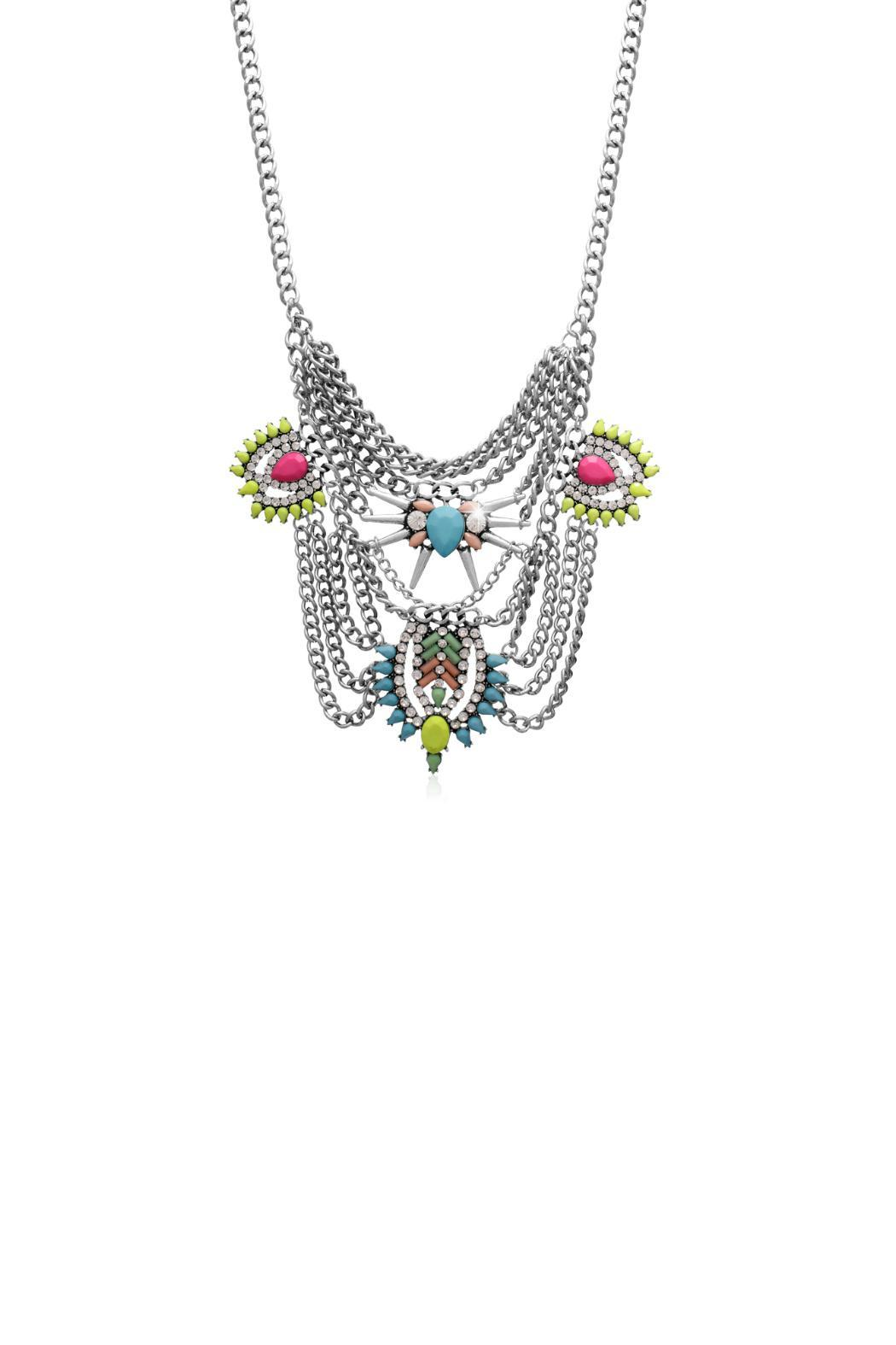 Passiana Neon Crystal Necklace - Front Cropped Image