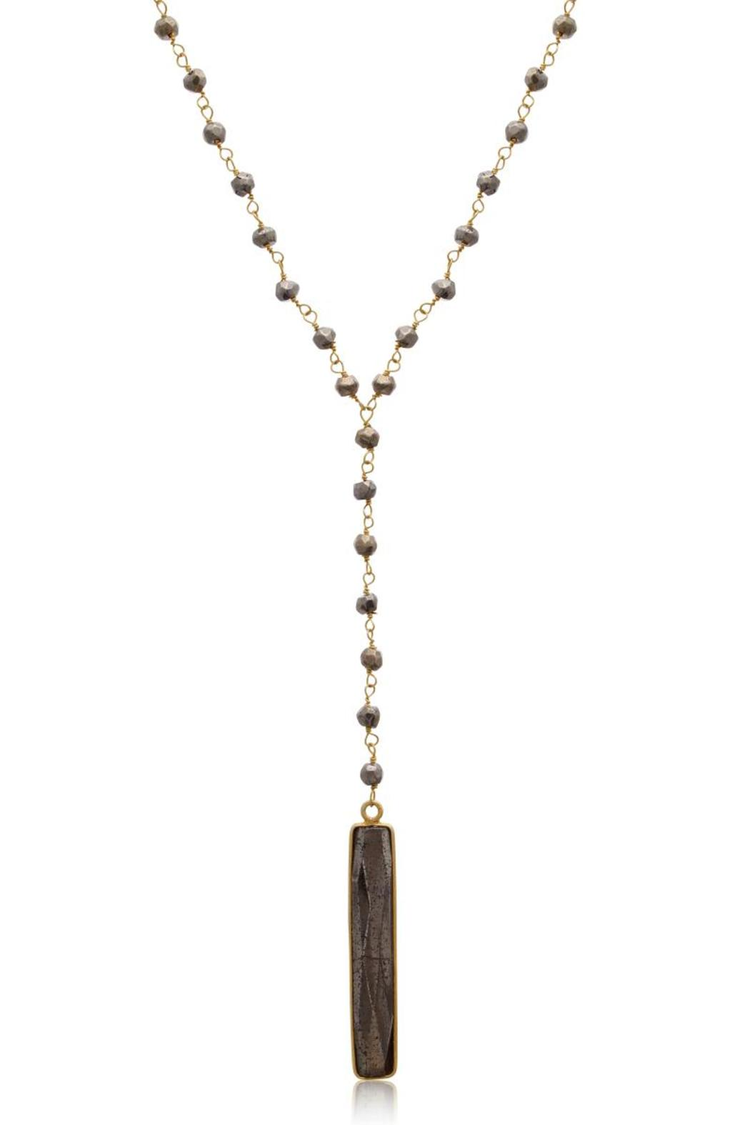 Passiana Pyrite Lariate Necklace - Front Cropped Image