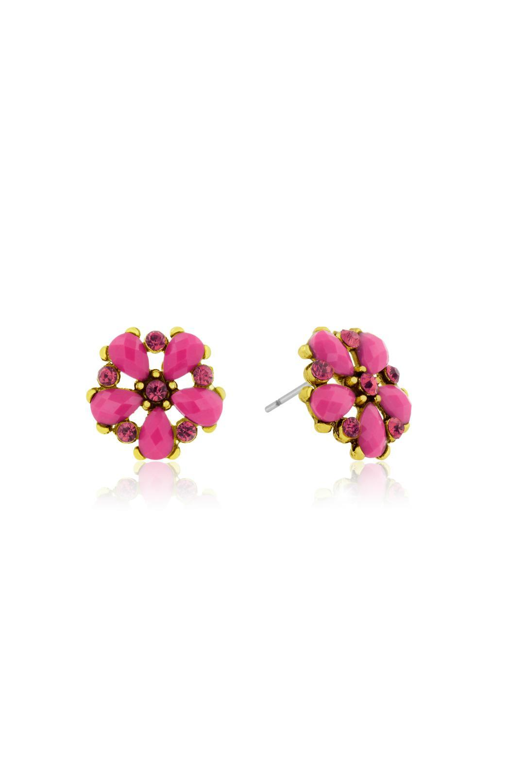 Passiana Rose Crystal Studs - Front Full Image