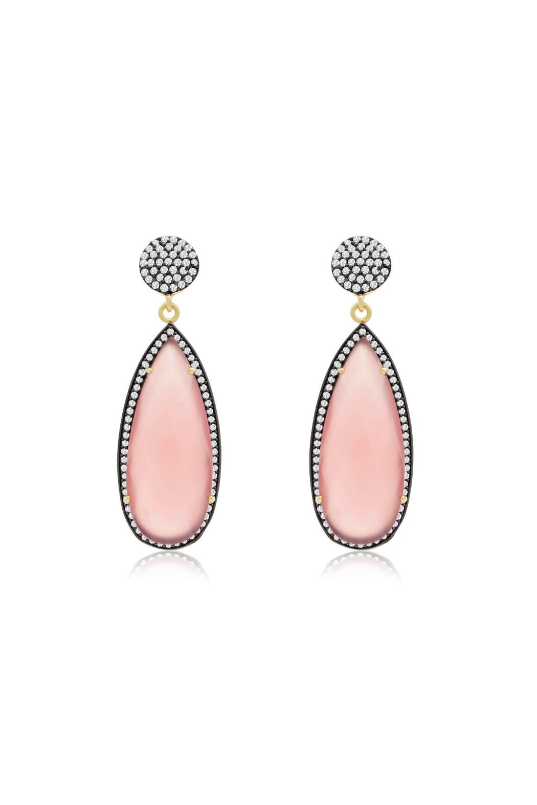 Passiana Rose Quartz Earrings - Front Cropped Image