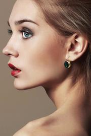 Passiana Round Emerald Earrings - Front full body