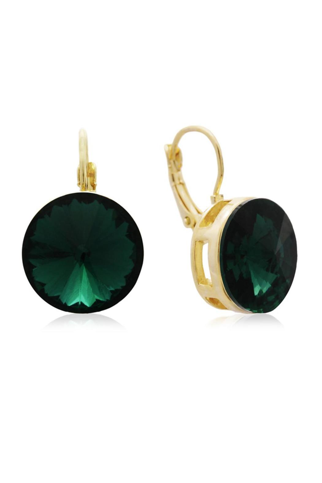 Passiana Round Emerald Earrings - Front Cropped Image