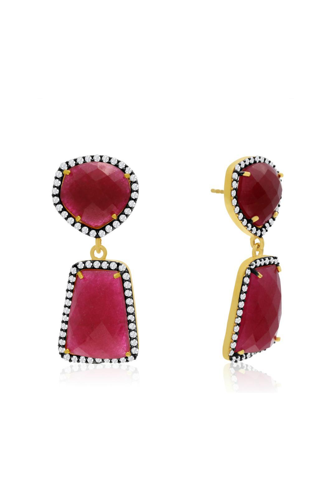 Piana Ruby Drop Earrings Front Cropped Image