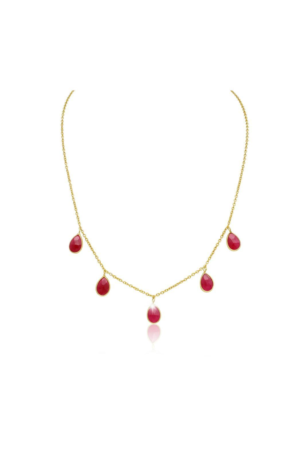 Passiana Ruby Drop Necklace - Front Cropped Image