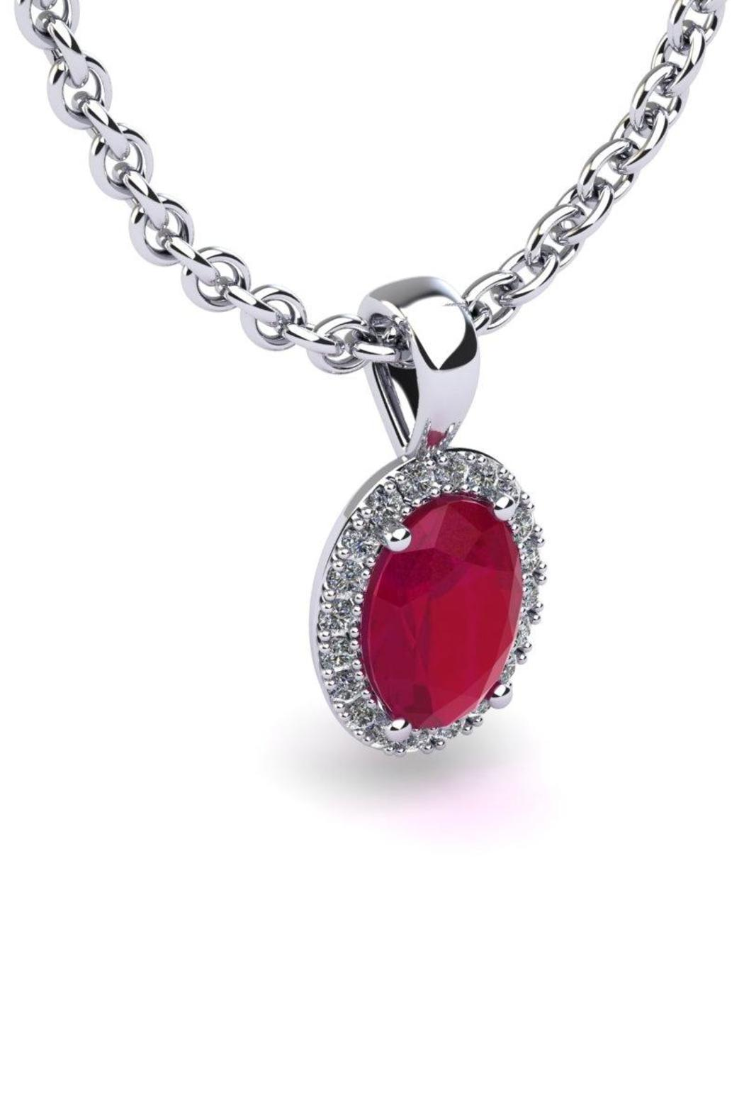 Passiana Ruby Halo Necklace - Front Full Image