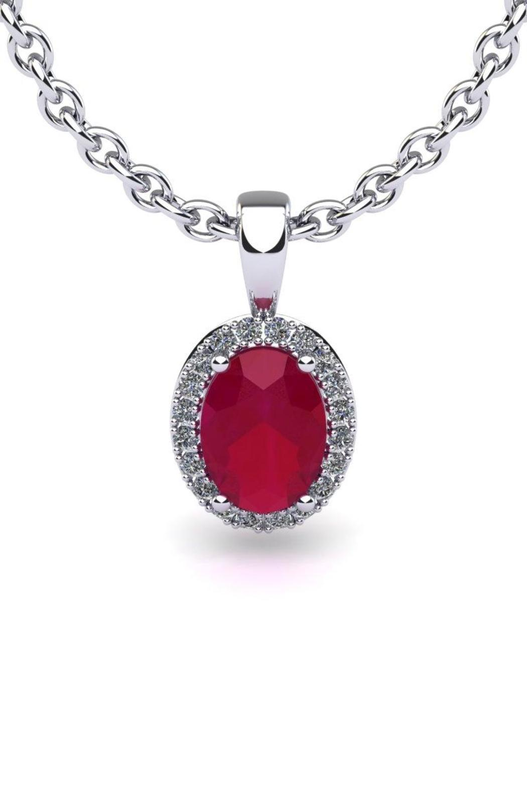 Passiana Ruby Halo Necklace - Main Image