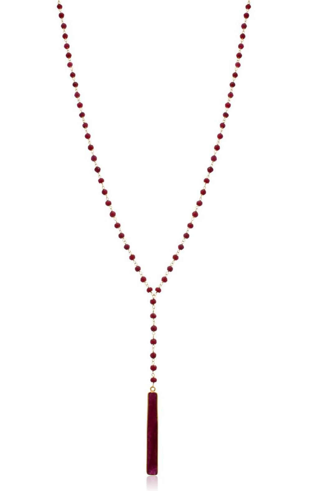 Passiana Ruby Lariat Necklace - Front Full Image