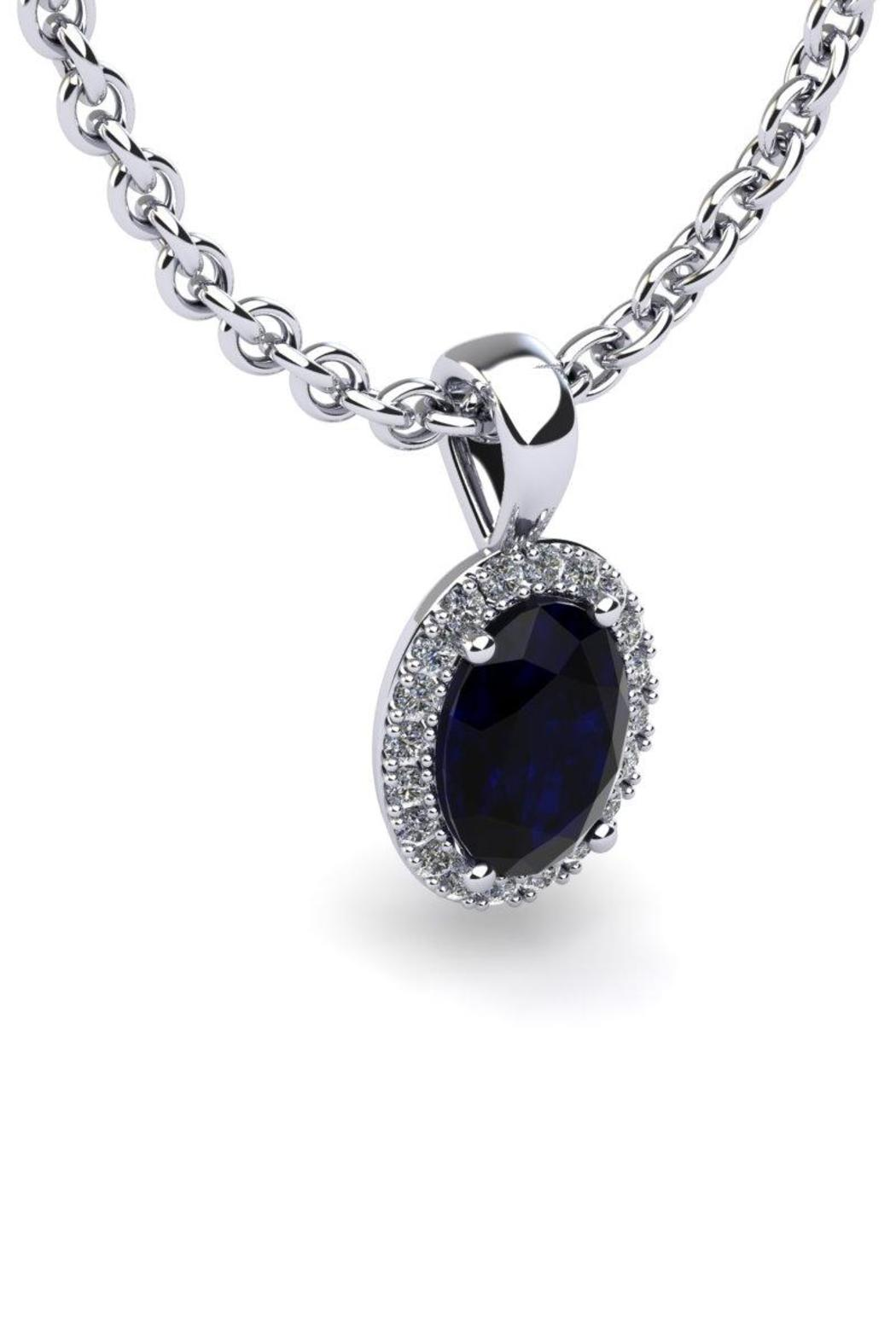 Passiana Sapphire Halo Necklace - Front Full Image