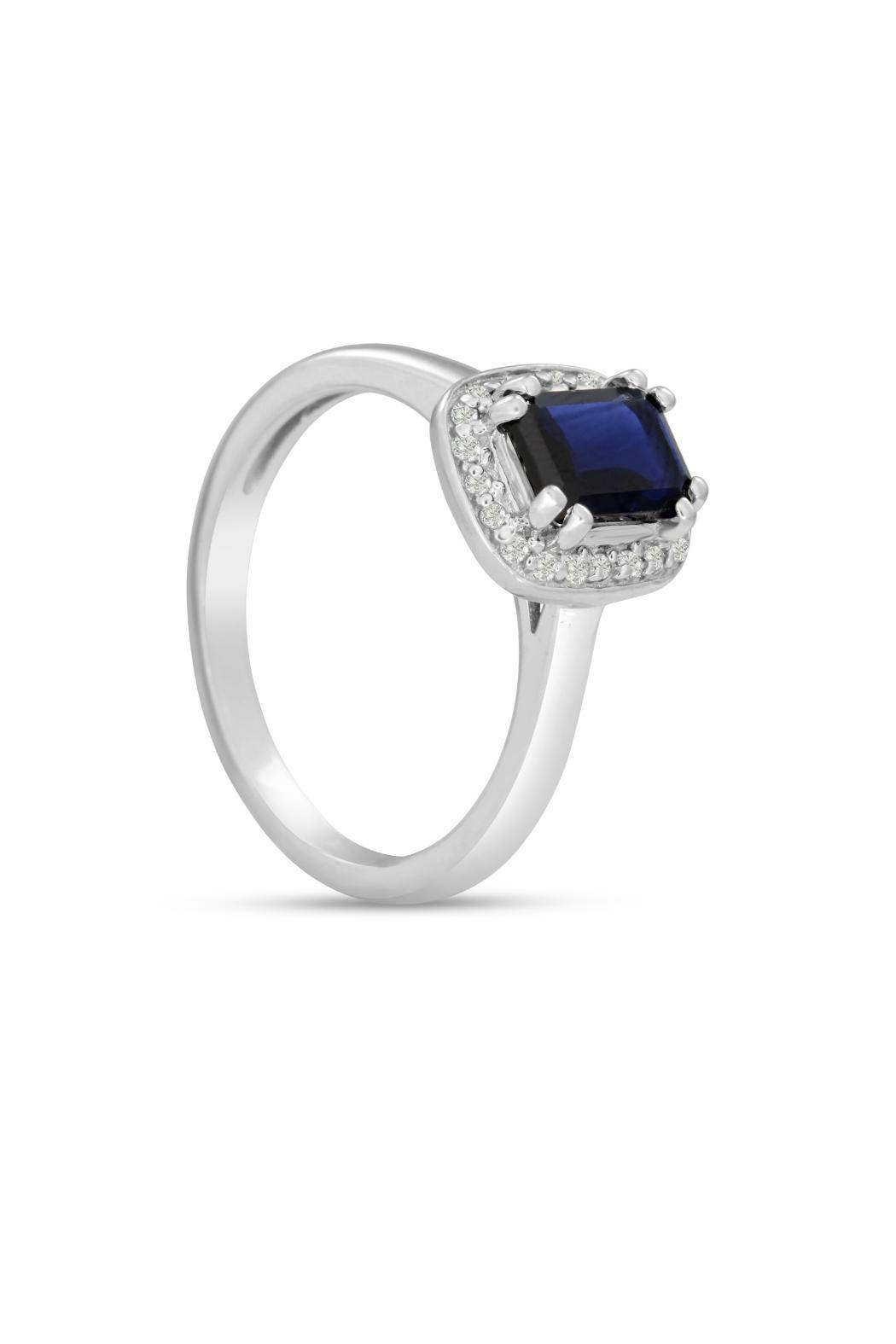 Passiana Sapphire Halo Ring - Side Cropped Image