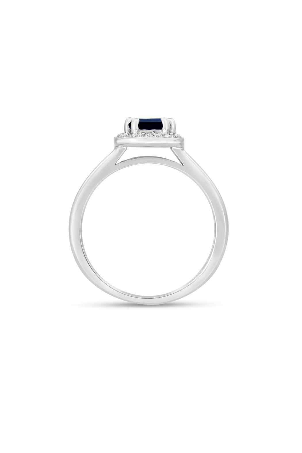 Passiana Sapphire Halo Ring - Back Cropped Image