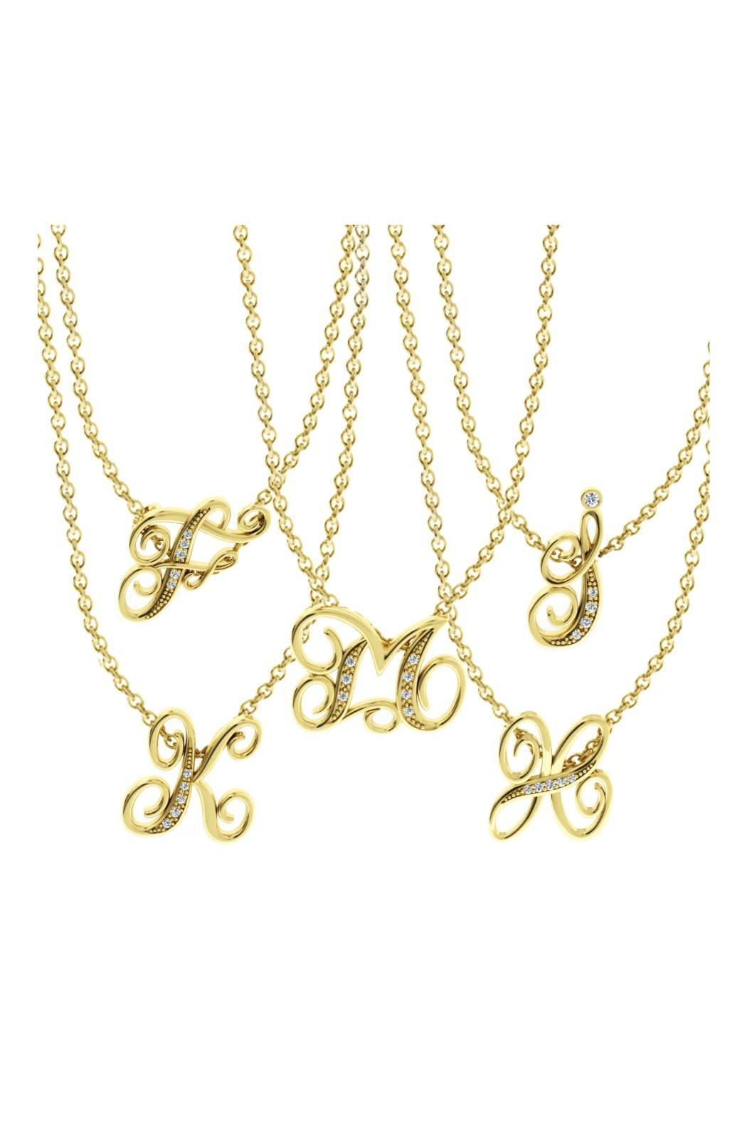 Passiana Script Initial Necklace - Front Full Image