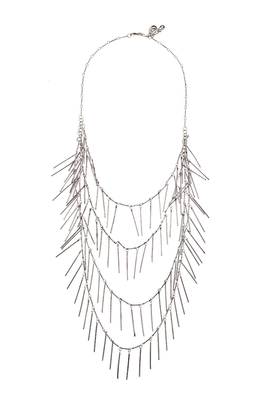 Passiana Silver Fringe Necklace - Front Cropped Image