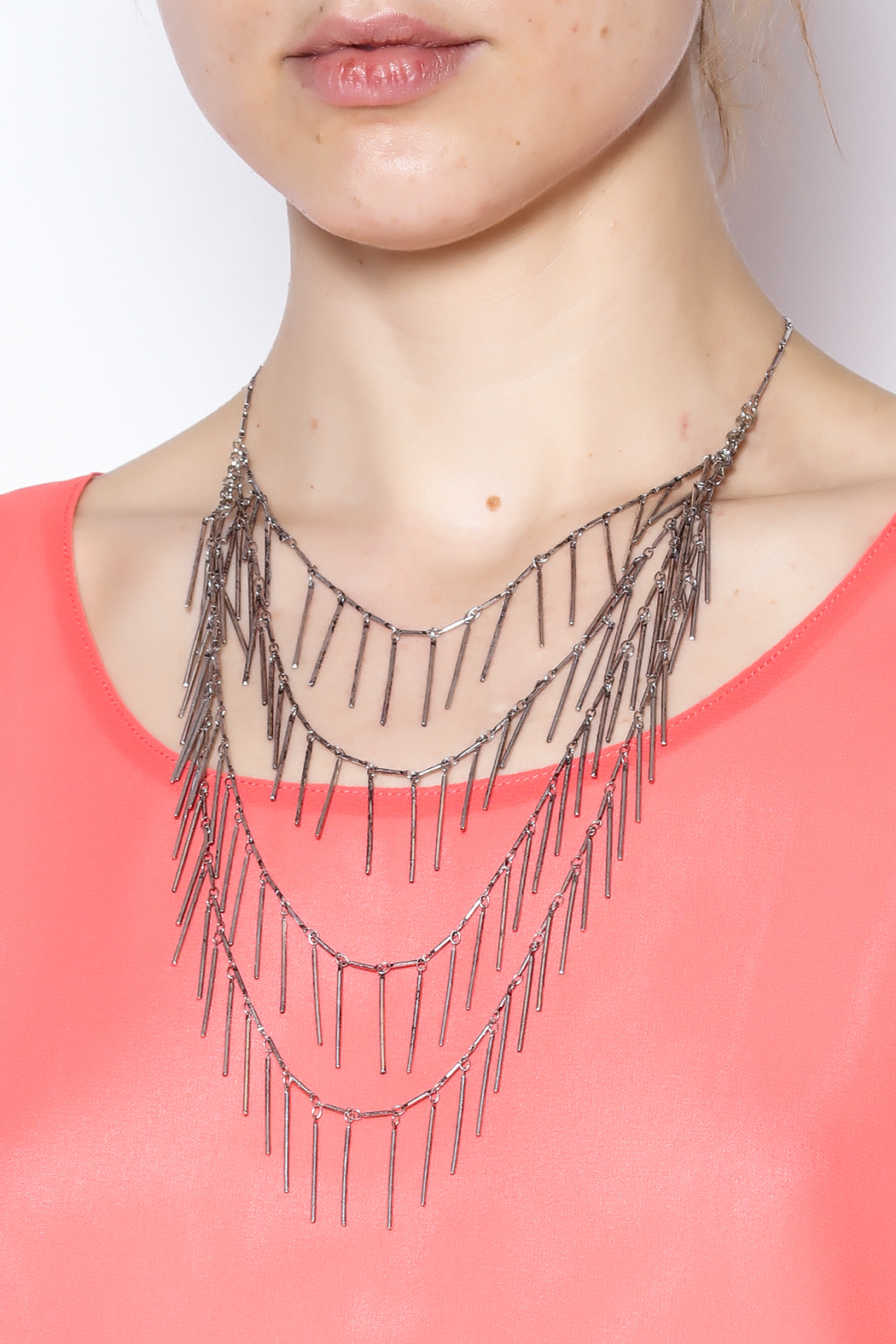 Passiana Silver Fringe Necklace - Back Cropped Image