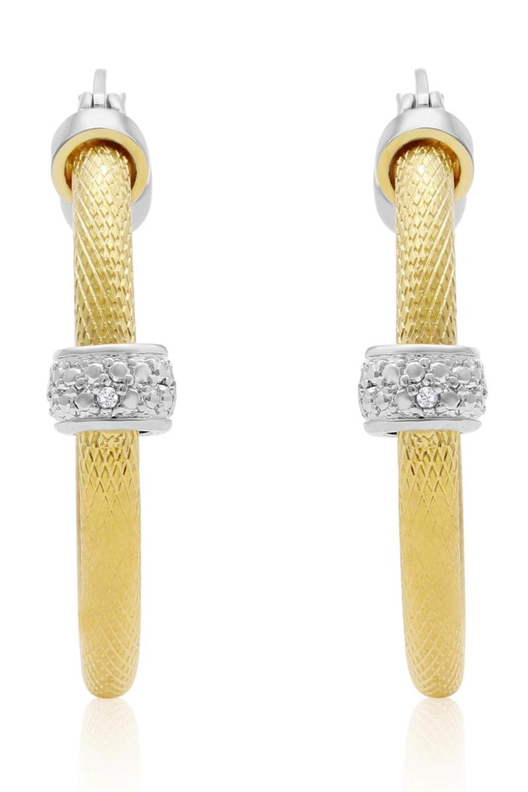 Passiana Textured Diamond Hoops - Main Image