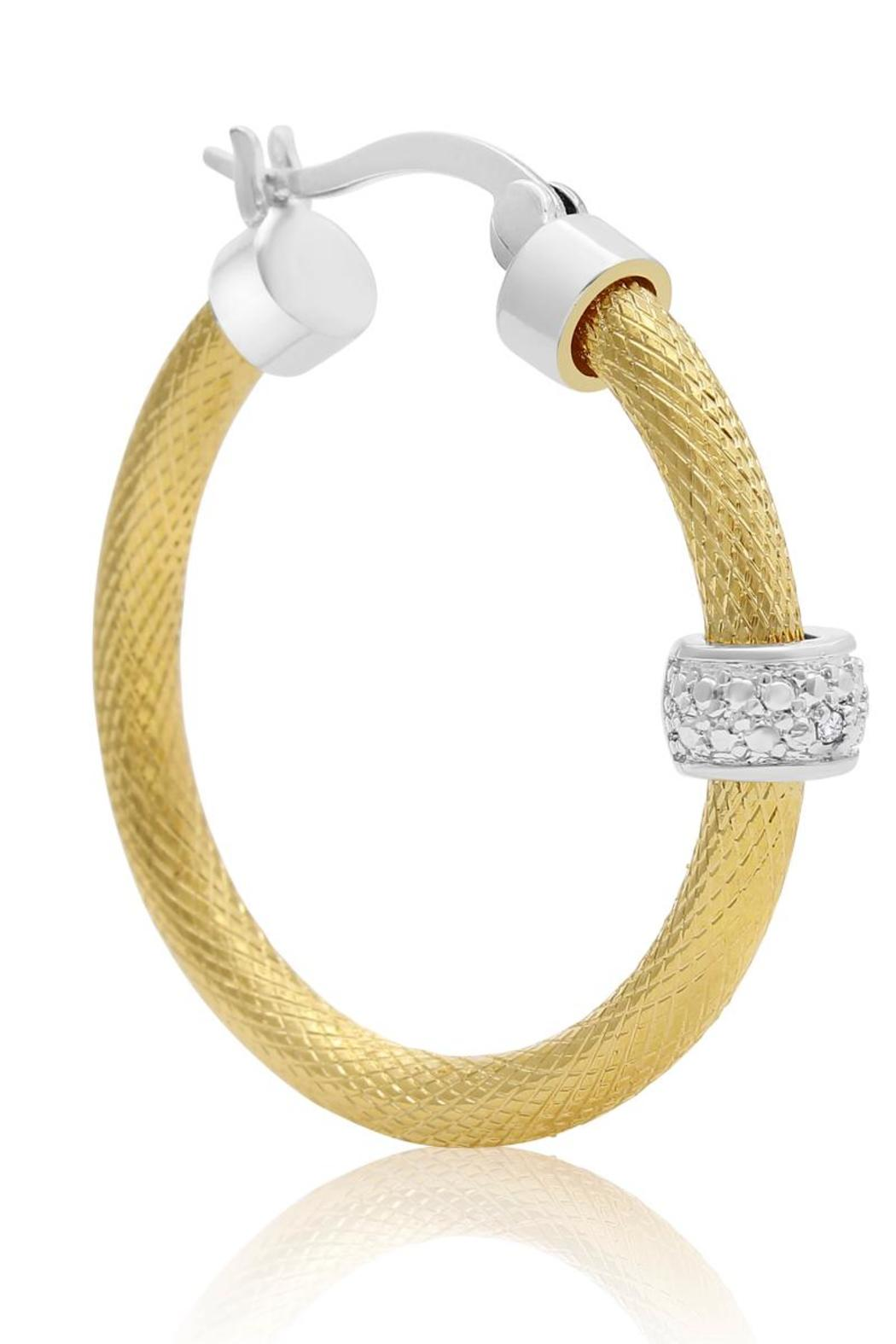 Passiana Textured Diamond Hoops - Side Cropped Image