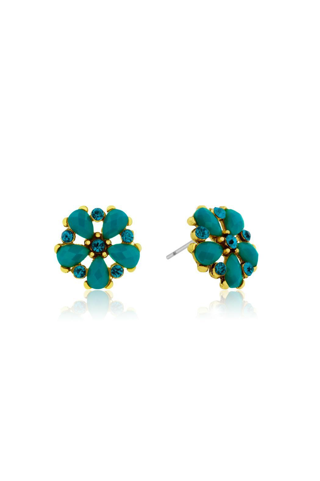 Passiana Turquoise Crystal Studs - Front Full Image