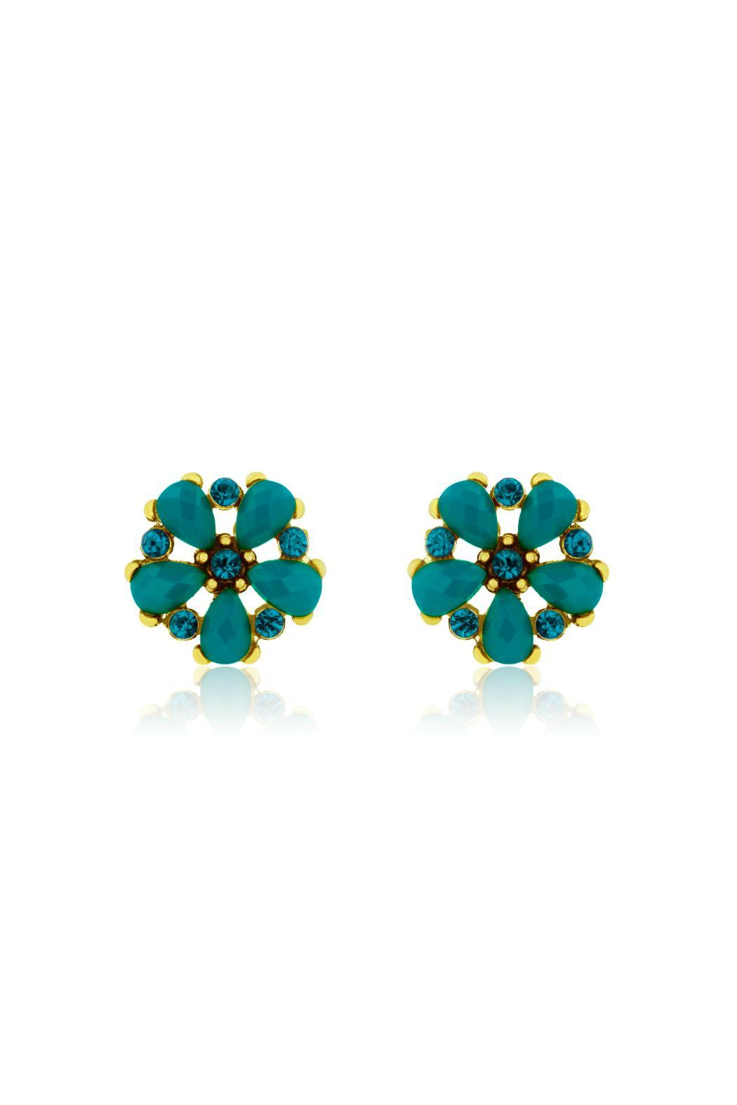 Passiana Turquoise Crystal Studs - Main Image