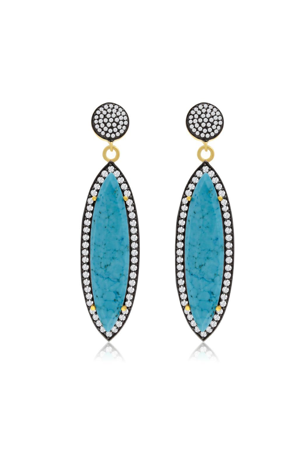 Passiana Turquoise Marquise Earrings - Front Full Image