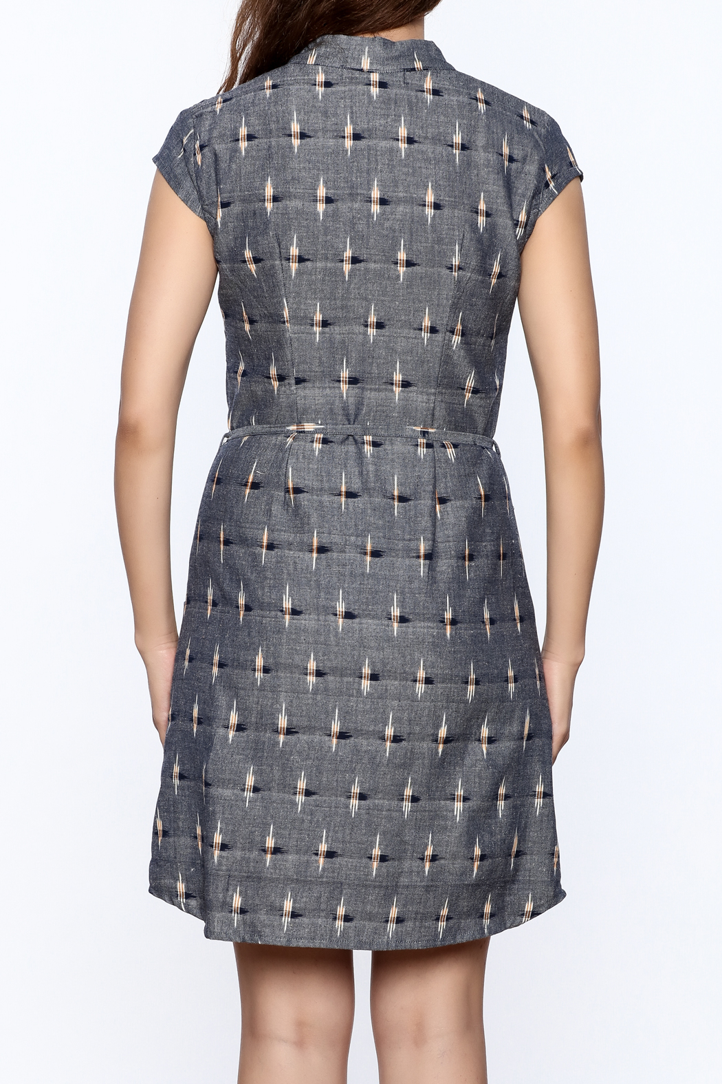 Passion Lilie Ikat Button Dress - Back Cropped Image