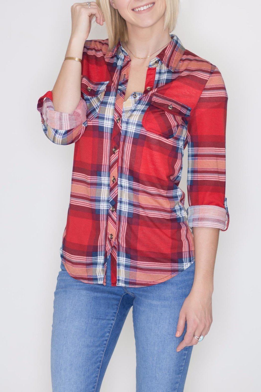 Passport Plaid Button Down - Front Cropped Image