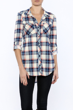 Shoptiques Product: Rolled Sleeve Plaid Tunic