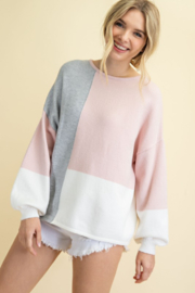 143 Story Pastel Color Block Sweater - Product Mini Image