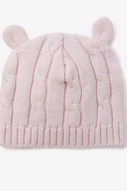Elegant Baby Pastel Pink Knit Cable Hat w/ Ears - Product Mini Image