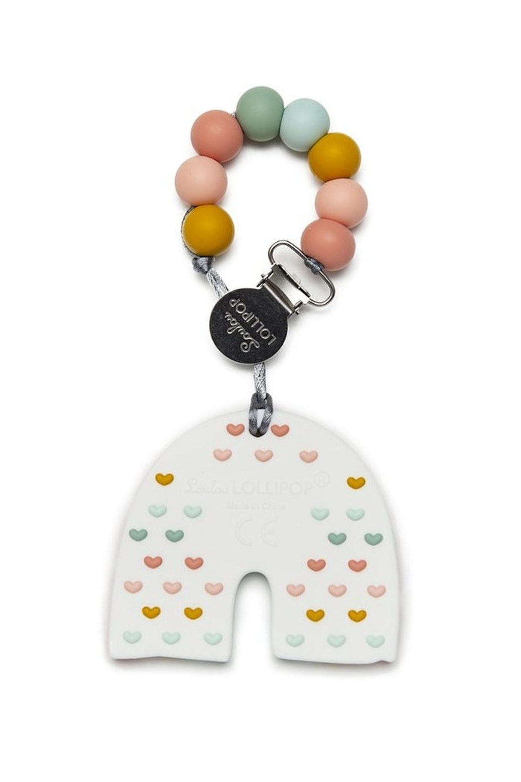 loulou LOLLIPOP Pastel Rainbow Silicone Teether Set - Front Full Image