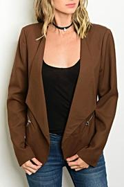 Pastel Design Brown Blazer - Front cropped