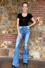 Vervet Patch Me Up Flare Hi Rise Distressed Jean - Front full body